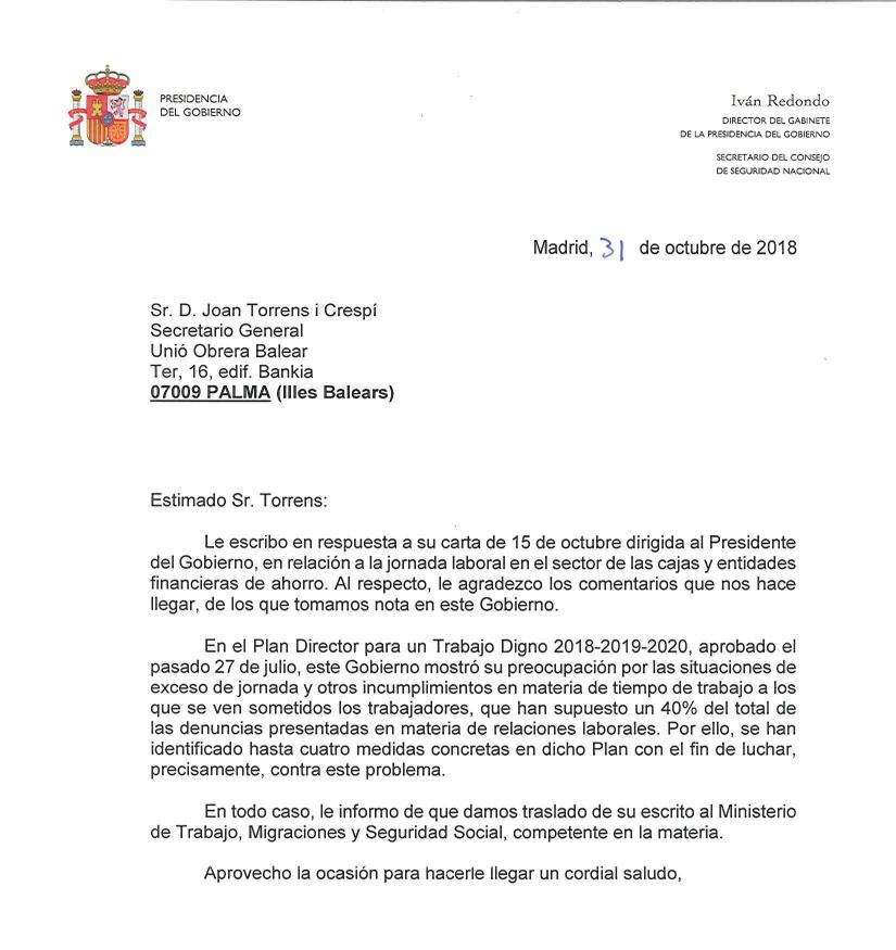 Resposta de Presidencia del Gobierno